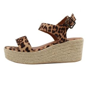 Shoes - Tan Leopard Open Toe Ankle Strap Espadrille Wedge